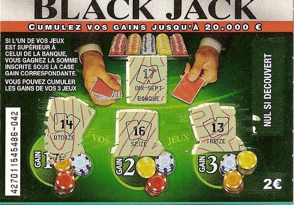 Jeu black jack grattage