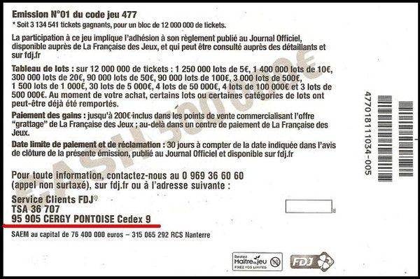 CASH 47701 500 000 € avec adresse CERGY